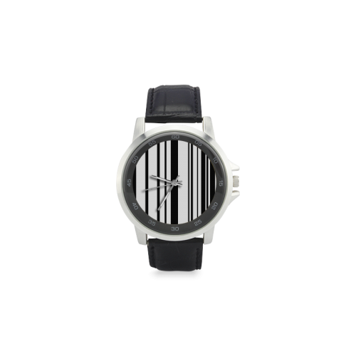 barcode Unisex Stainless Steel Leather Strap Watch(Model 202)