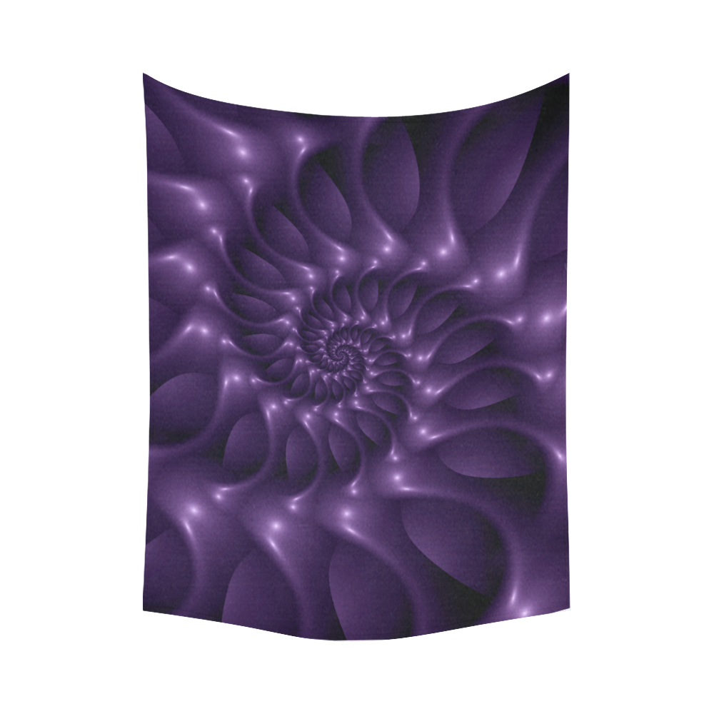 """Glossy Purple Spiral Fractal Cotton Linen Wall Tapestry 80""""x 60"""""""