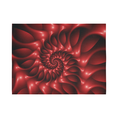 """Glossy Red Spiral Fractal Cotton Linen Wall Tapestry 80""""x 60"""""""