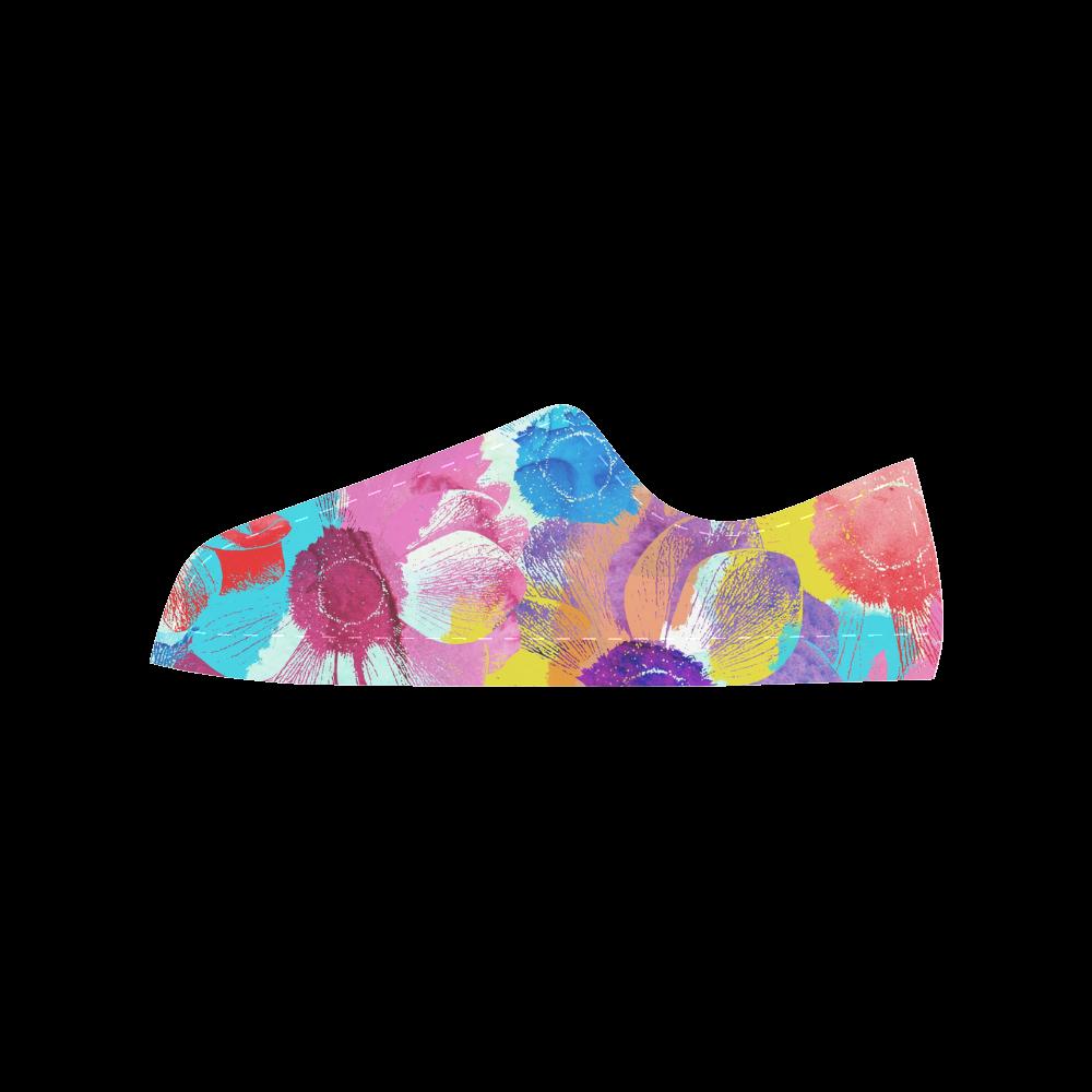 Anemones Flower Aquila Microfiber Leather Women's Shoes (Model 028)