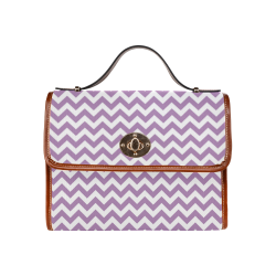 Purple Lilac and white zigzag chevron Waterproof Canvas Bag/All Over Print (Model 1641)