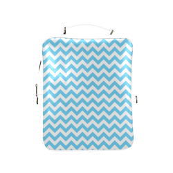 Bright Blue and white zigzag chevron Square Backpack (Model 1618)