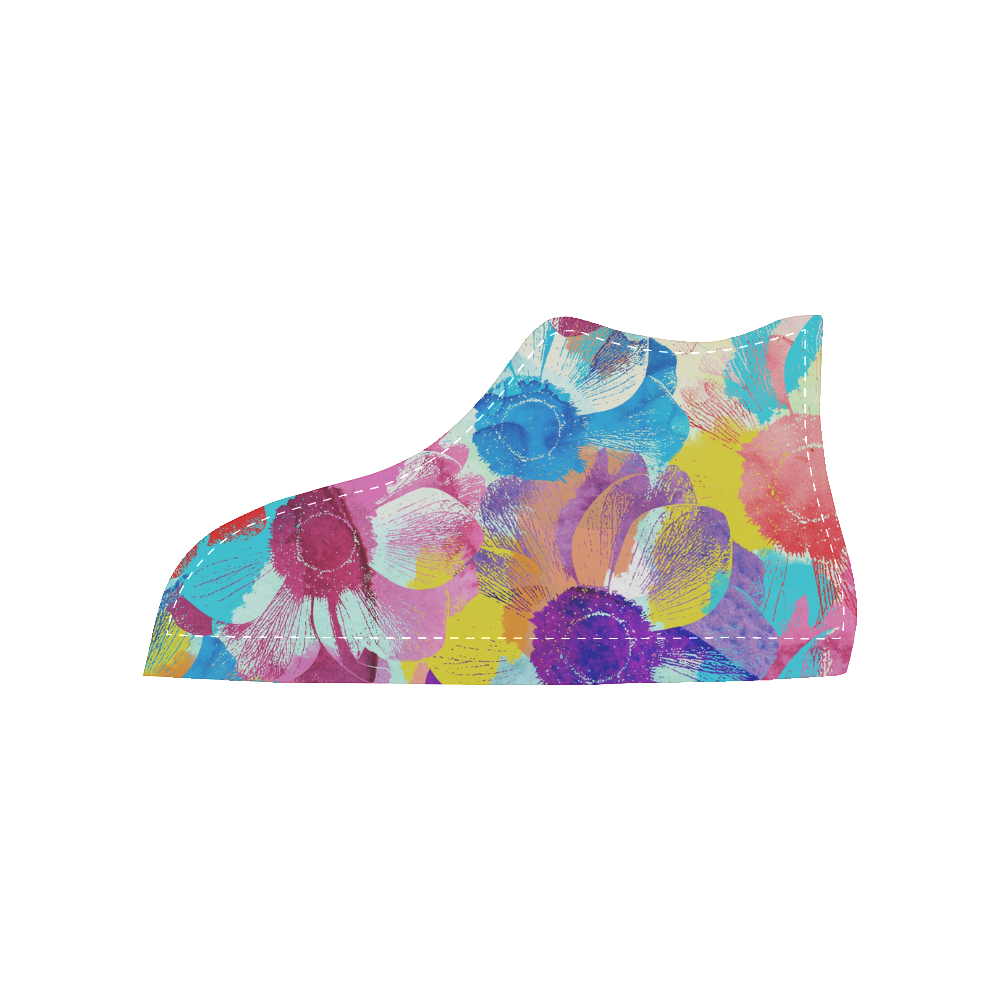 Anemones Flower Women's High Top Canvas Shoes (Model 002)