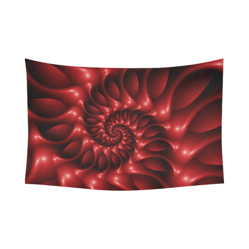 "Glossy Red Spiral Fractal Cotton Linen Wall Tapestry 90""x 60"""