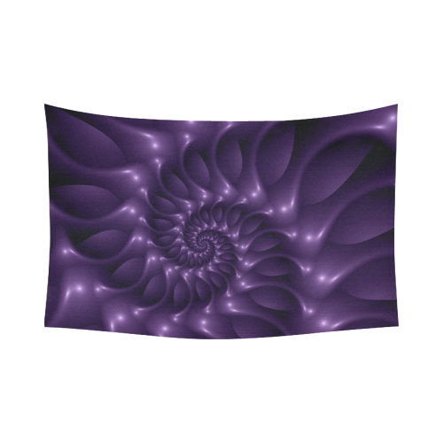 """Glossy Purple Spiral Fractal Cotton Linen Wall Tapestry 90""""x 60"""""""