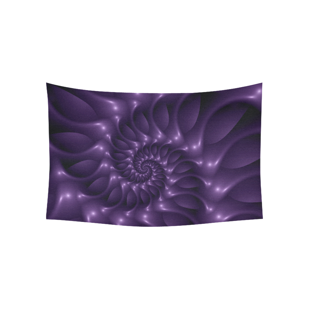 "Glossy Purple Spiral Fractal Cotton Linen Wall Tapestry 60""x 40"""