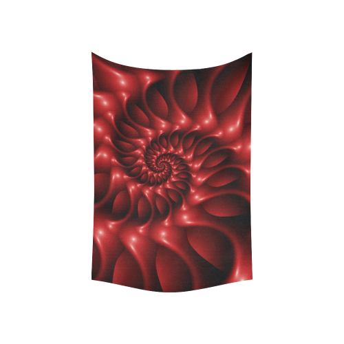 """Glossy Red Spiral Fractal Cotton Linen Wall Tapestry 60""""x 40"""""""