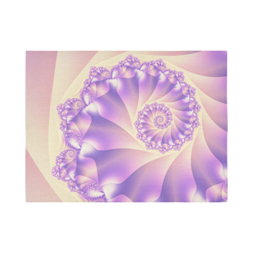 """Pastel Yellow and Purple Spiral Fractal Cotton Linen Wall Tapestry 80""""x 60"""""""