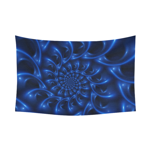 "Glossy Blue Spiral Fractal Cotton Linen Wall Tapestry 90""x 60"""