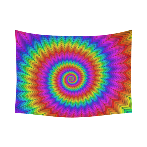 """Psychedelic Rainbow Spiral Cotton Linen Wall Tapestry 80""""x 60"""""""