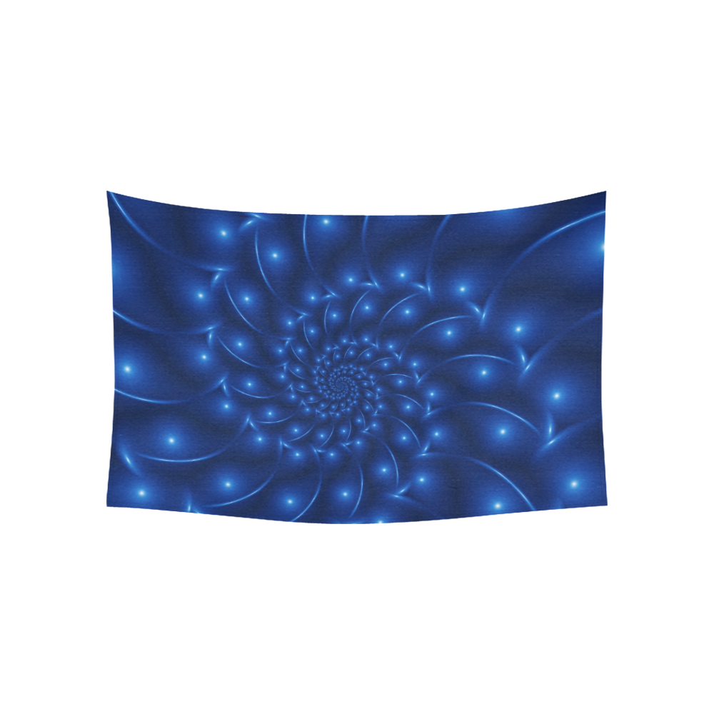 """Glossy Blue Spiral Fractal Cotton Linen Wall Tapestry 60""""x 40"""""""