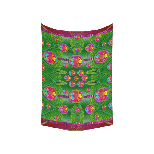 """Orchid Forest Filled of big flowers and chevron Cotton Linen Wall Tapestry 60""""x 40"""""""