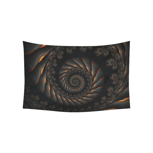 "Black Spiral Fractal Cotton Linen Wall Tapestry 60""x 40"""