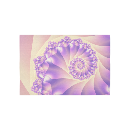 "Pastel Yellow and Purple Spiral Fractal Cotton Linen Wall Tapestry 60""x 40"""