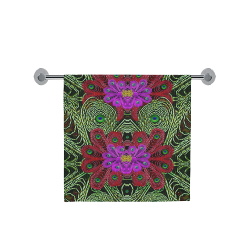 "Metal Peacock In paradise Land Bath Towel 30""x56"""