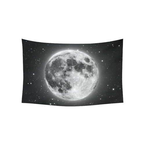 "Full Moon Starry Night Cotton Linen Wall Tapestry 60""x 40"""
