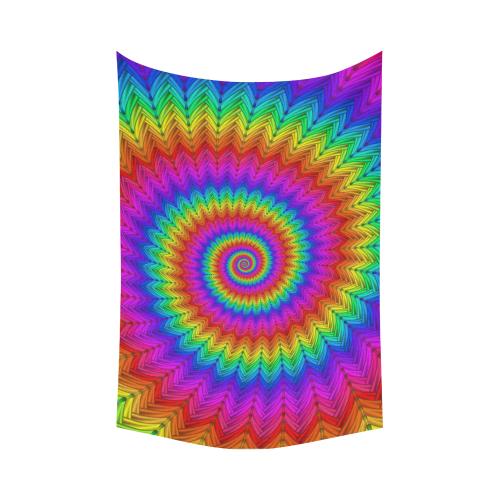 """Psychedelic Rainbow Spiral Cotton Linen Wall Tapestry 90""""x 60"""""""