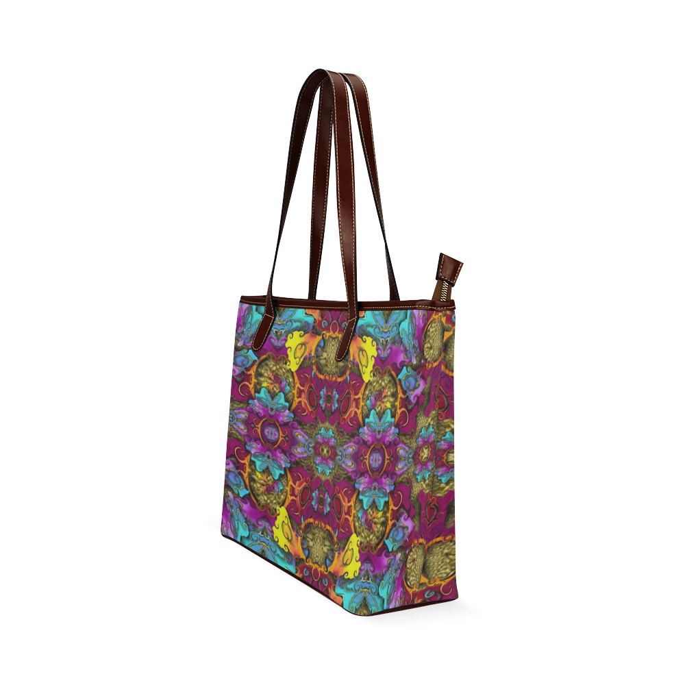 Fantasy rainbow flowers in a environment of calm Shoulder Tote Bag (Model 1646)