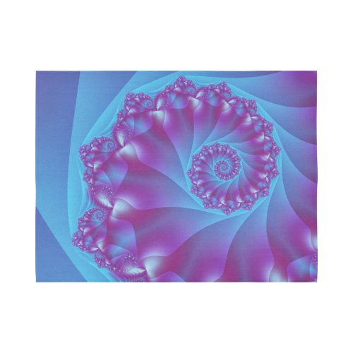 """Blue and Purple Spiral Fractal Cotton Linen Wall Tapestry 80""""x 60"""""""