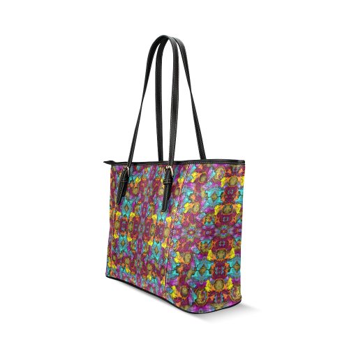 Fantasy rainbow flowers in a environment of calm Leather Tote Bag/Large (Model 1640)