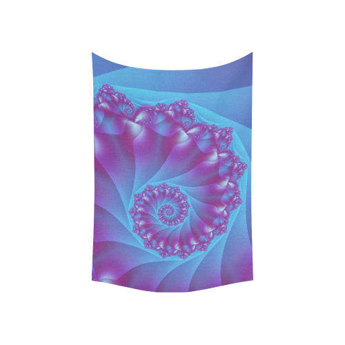 """Blue and Purple Spiral Fractal Cotton Linen Wall Tapestry 60""""x 40"""""""