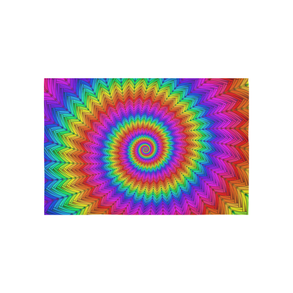 "Psychedelic Rainbow Spiral Cotton Linen Wall Tapestry 60""x 40"""