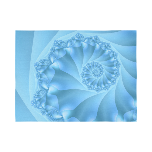 """Blue Spiral Fractal Cotton Linen Wall Tapestry 80""""x 60"""""""