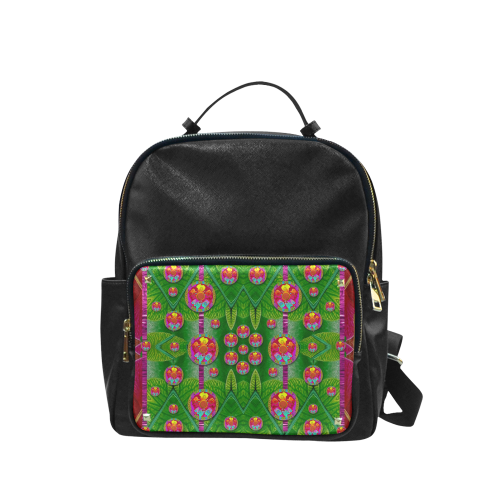 Orchid Forest Filled of big flowers and chevron Campus backpack/Large (Model 1650)
