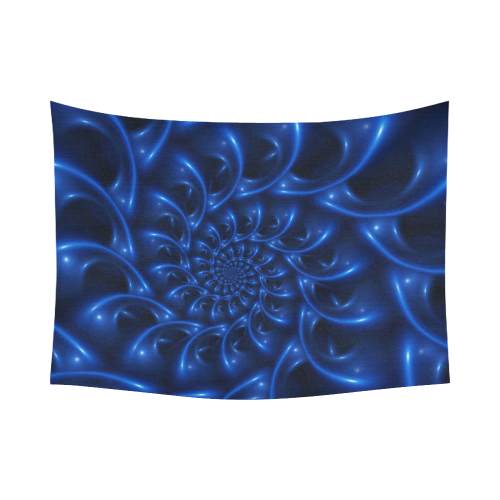 """Glossy Blue Spiral Fractal Cotton Linen Wall Tapestry 80""""x 60"""""""
