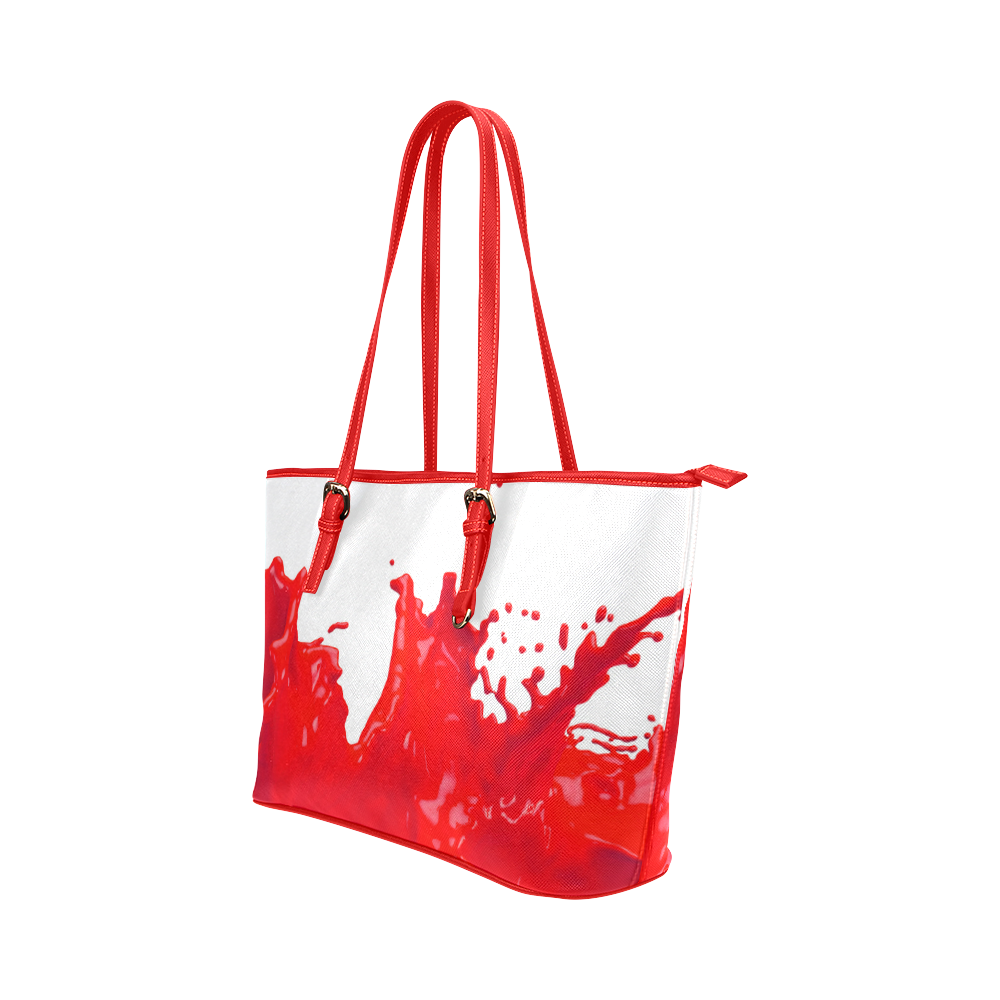 Glossy Red Paint Splash Leather Tote Bag/Large (Model 1651)