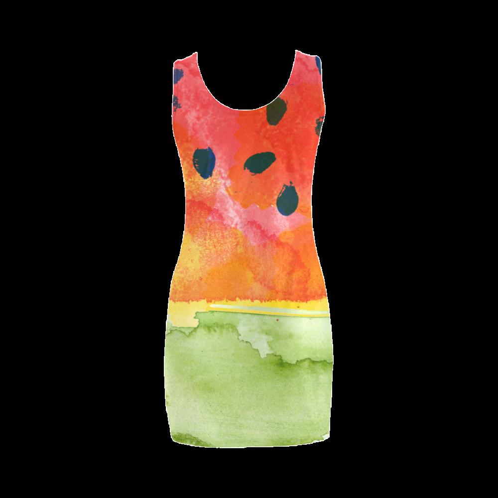 Abstract Watermelon Medea Vest Dress (Model D06)