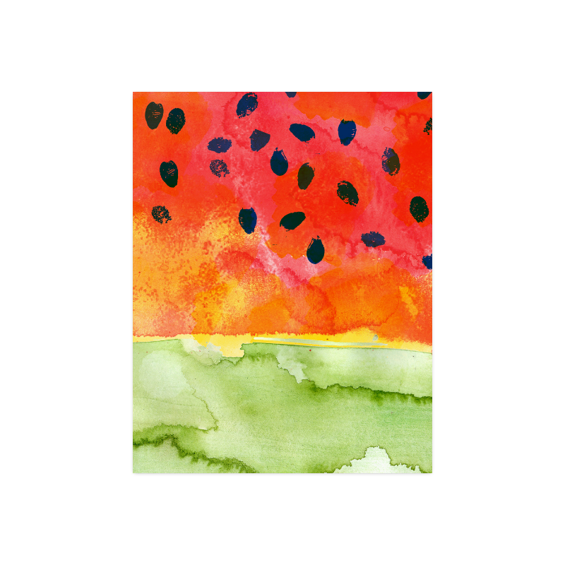 """Abstract Watermelon Poster 14""""x11"""""""