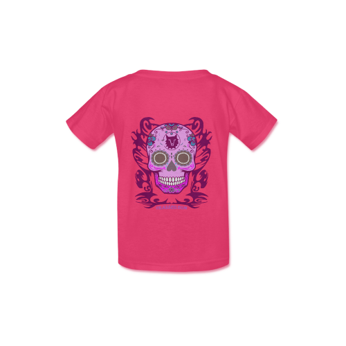 Skull Flowers Pink Kid's  Classic T-shirt (Model T22)