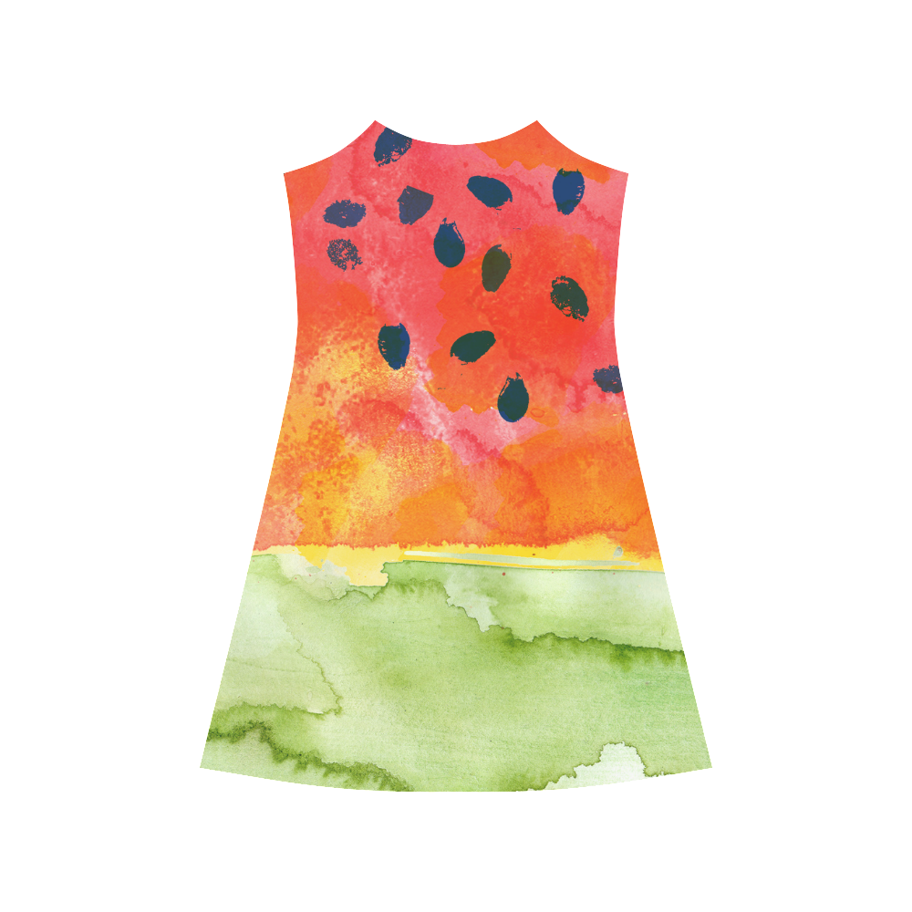 Abstract Watermelon Alcestis Slip Dress (Model D05)