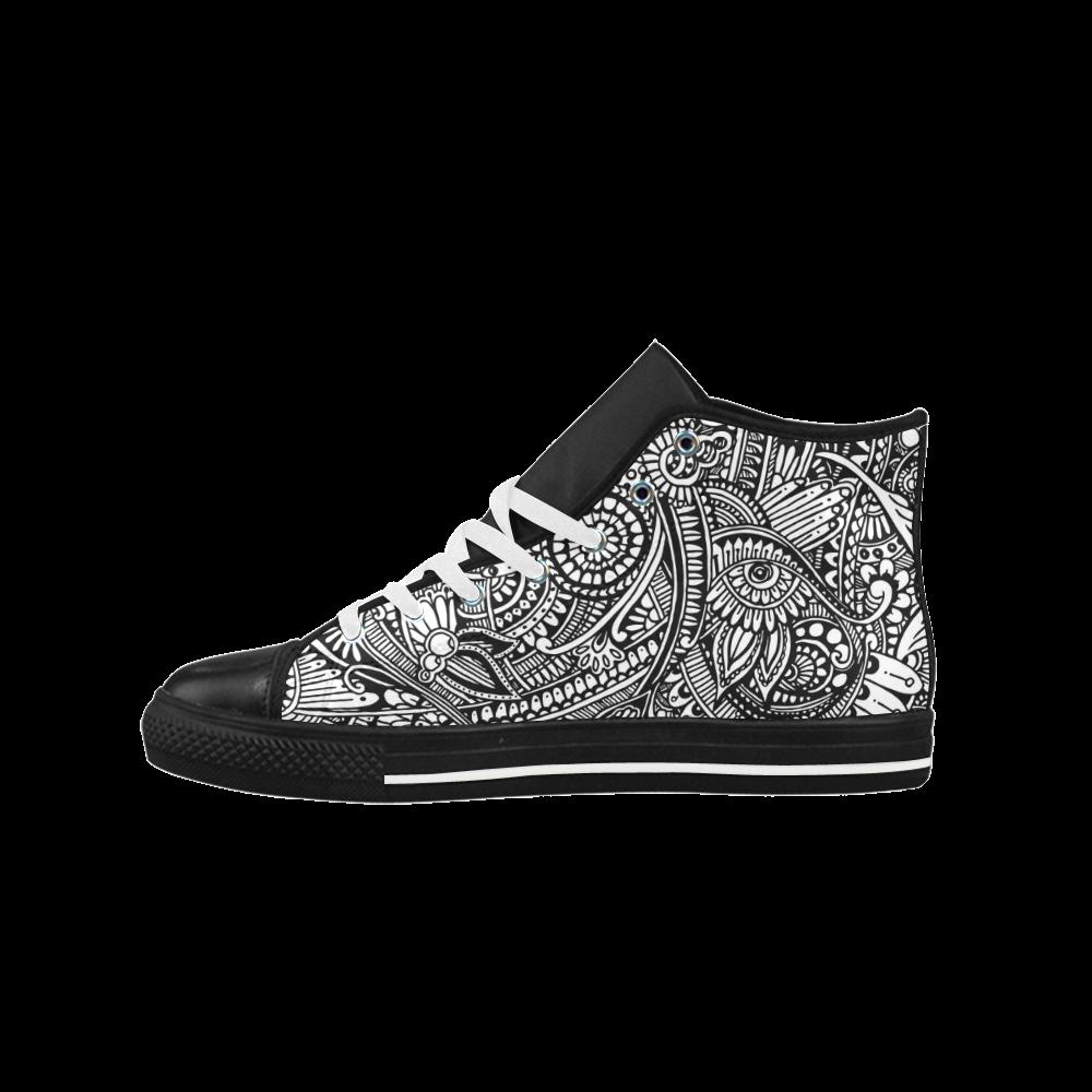 Black & white flower pattern art Aquila High Top Microfiber Leather Men's Shoes (Model 027)