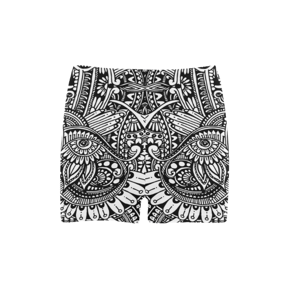 Black & white flower pattern art Briseis Skinny Shorts (Model L04)