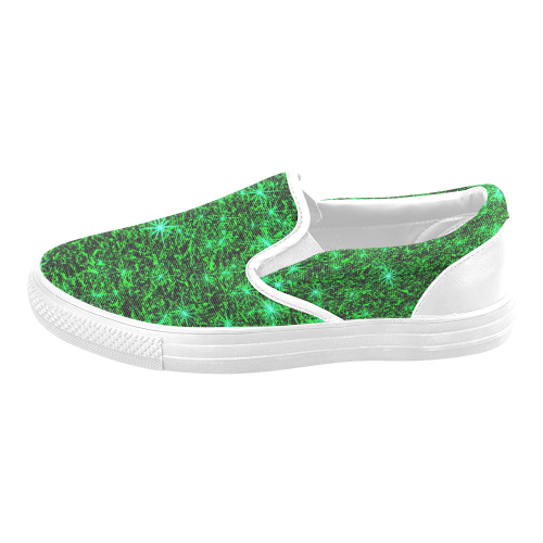 Sparkling Green - Jera Nour Men's Unusual Slip-on Canvas Shoes (Model 019)