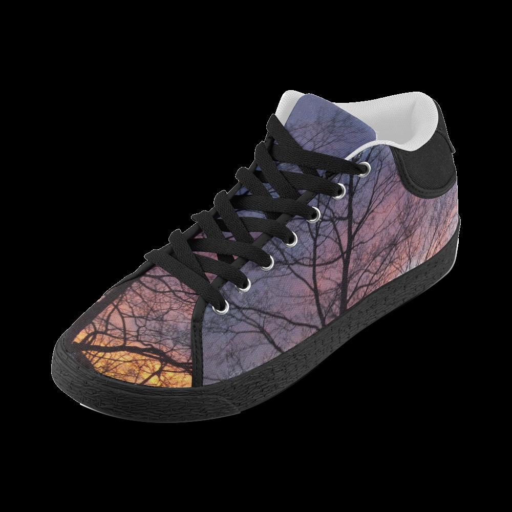 Purple Sunset Women's Chukka Canvas Shoes (Model 003)