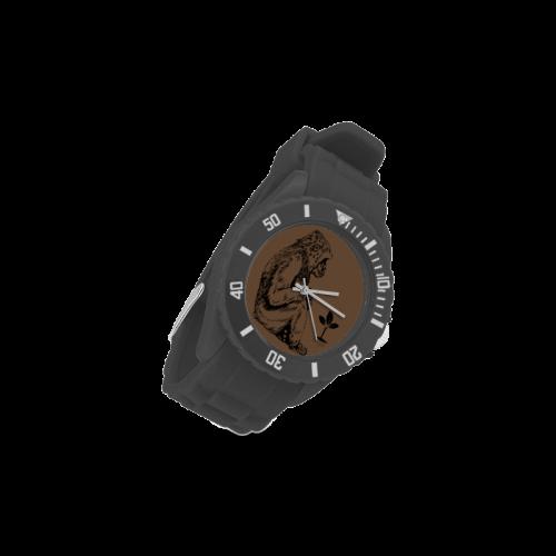 Gorilla with plants Sport Rubber Strap Watch(Model 301)