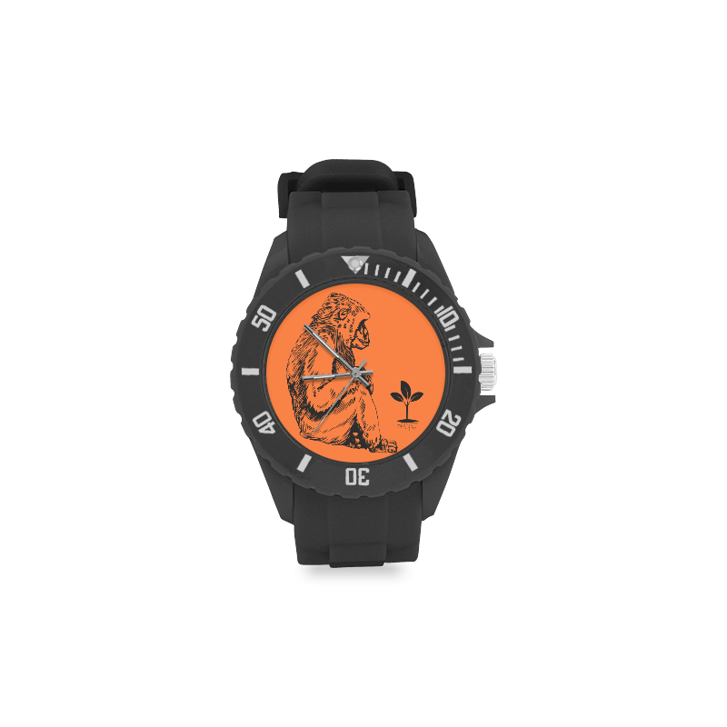 Gorilla with plants Sport Rubber Strap Watch(Model 301)