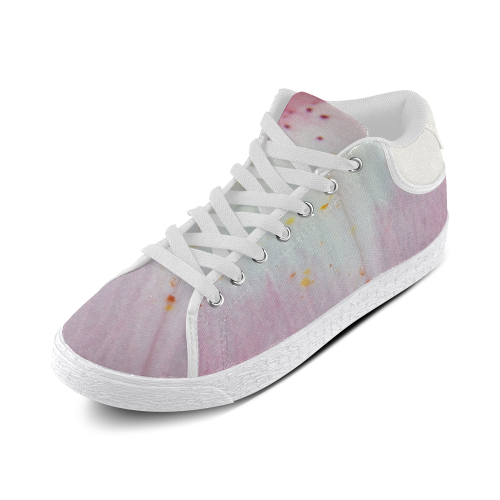 Pink Lily Tongue Women's Chukka Canvas Shoes (Model 003)