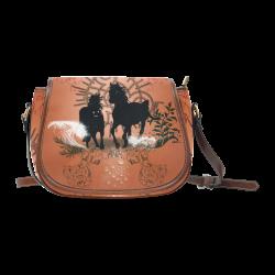 Black horses silhouette Saddle Bag/Small (Model 1649) Full Customization