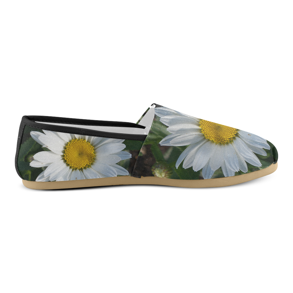 White Daisy Unisex Casual Shoes (Model 004)