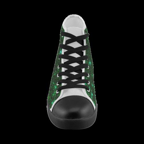 Sparkling Green - Jera Nour Men's High Top Canvas Shoes (Model 002)