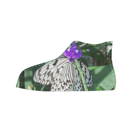 Rice Paper Butterfly Women's Classic High Top Canvas Shoes (Model 017)