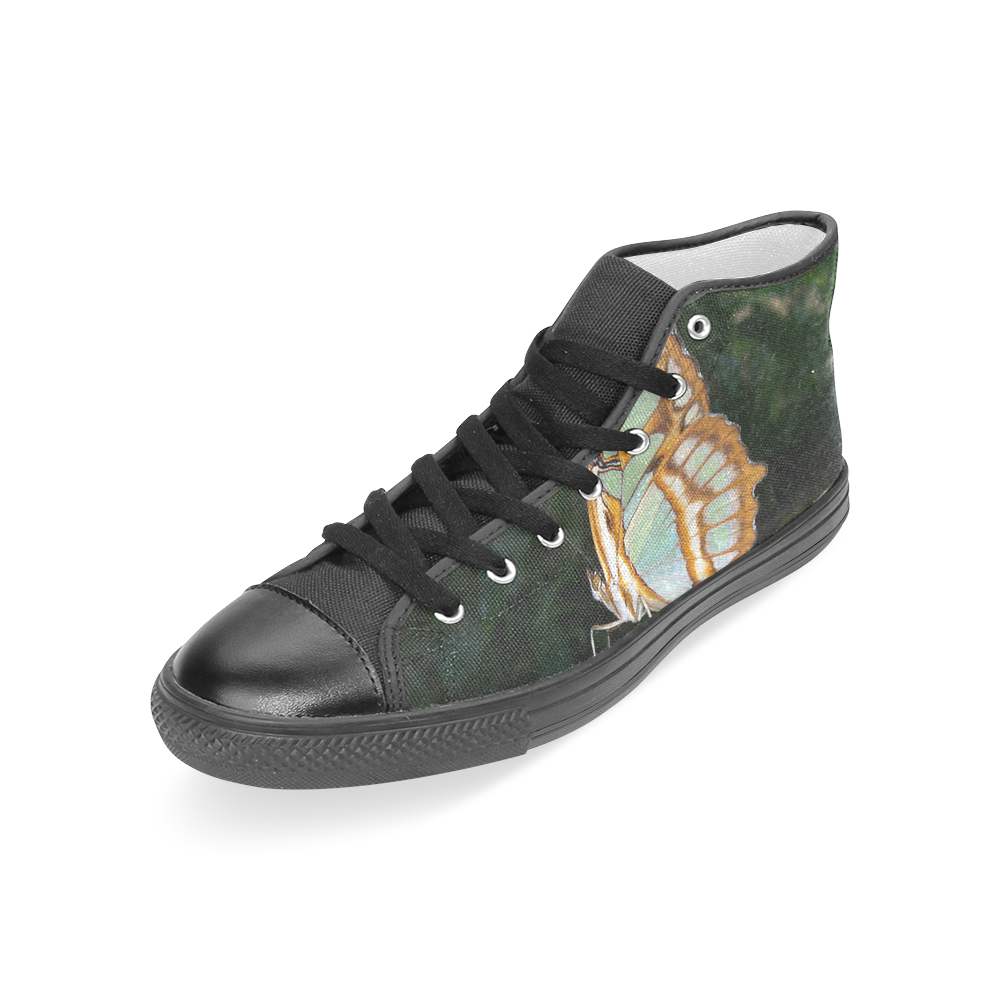 Tailed Jay Butterfly Women's Classic High Top Canvas Shoes (Model 017)