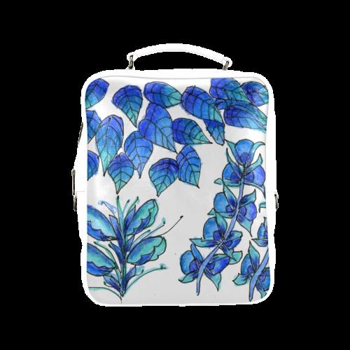 Pretty Blue Flowers, Aqua Garden Zendoodle Square Backpack (Model 1618)