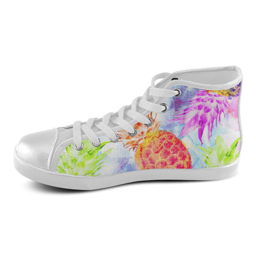 Pineapples Women's High Top Canvas Shoes (Model 002)