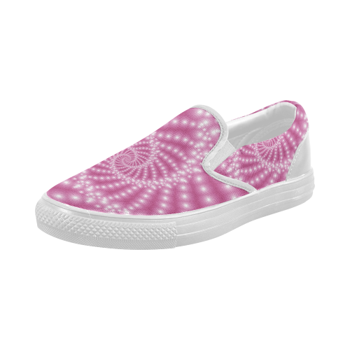 Glossy Pink Beads Spiral Fractal Women's Slip-on Canvas Shoes (Model 019)
