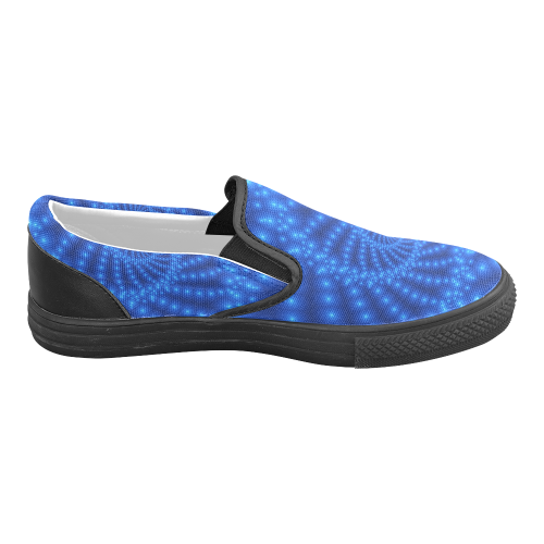 Glossy Blue Beads Spiral Fractal Women's Unusual Slip-on Canvas Shoes (Model 019)